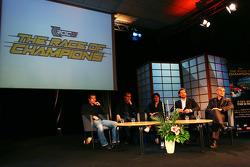 Press conference, Stade de France: Jean-Christophe Giletta, Fredrik Johnsson, Michèle Mouton, Stéphane Peterhansel and Sébastien Loeb