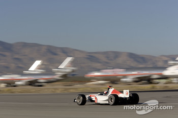 Alan van der Merwe runs on the Mojave Airport