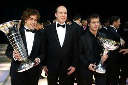 FIA Formula One World Champion Fernando Alonso, Prince Albert of Monaco and FIA World Rally Champion Sébastien Loeb