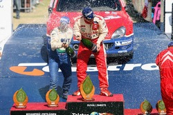 Podium: champagne for François Duval and Manfred Stohl