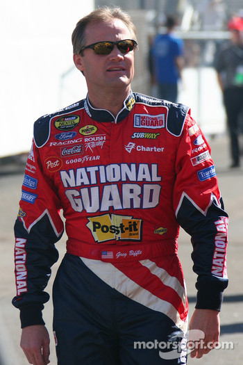 Kenny Wallace with Greg Biffle's outfit