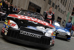 Carl Edwards and Mark Martin get ready for the drive through Times Square
