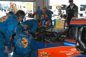 #74 Robinson Racing Lexus Riley in garage for halfshaft repairs