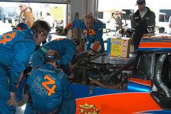 #74 Robinson Racing Lexus Riley in garage for halfshaft repairs