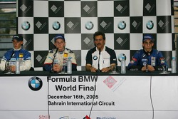 Press conference: winner Marco Holzer with Nicolas Huelkenberg, Dr Mario Theissen and Sebastien Buemi