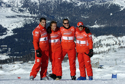 Marc Gene, Luca Badoer, Michael Schumacher and Felipe Massa