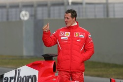 Michael Schumacher with the new Ferrari 248 F1