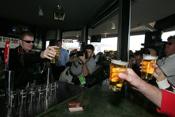 Budweiser Bistro event: Dale Earnhardt Jr. raises his glass of beer with fans