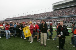 Fans invade the trioval infield before the Bon Jovi 'Tribute to America' concert