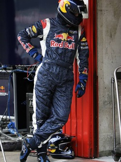 A Red Bull Racing team member ready for pitstop practice