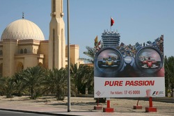 Bahrain GP advertising outside a mosque