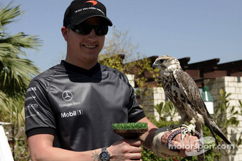 McLaren media breakfast at the Ritz Hotel: Kimi Raikkonen and a falcon