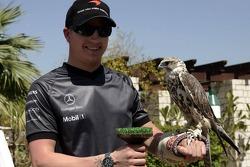McLaren media breakfast at the Ritz Hotel: Kimi Raikkonen and a falcon