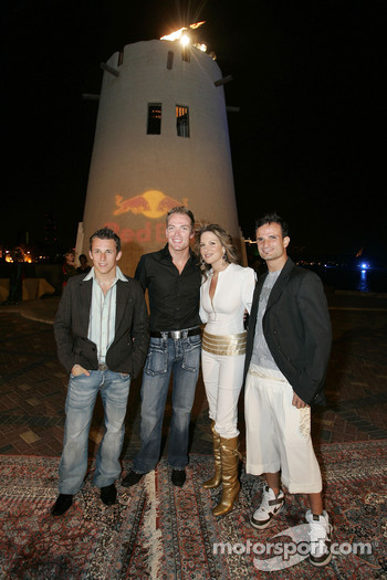 Christian Klien, Robert Doornbos and Vitantonio Liuzzi with Miss Lebanon