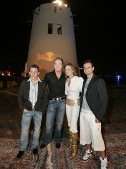 Christian Klien, Robert Doornbos and Vitantonio Liuzzi with Miss Lebanon