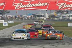 #79 J3 Racing Porsche 911 GT3 RSR: Tim Sugden, Jim Matthews, Wolf Henzler and #86 Spyker Squadron Spyker C-8 Spyder: Jeroen Bleekemolen, Mike Hezemans battle