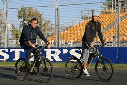 Vitantonio Liuzzi and race engineer Riccardo Adami ride around the track