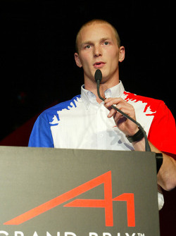 Alexandre Premat (FRA) A1 Team France accepts his award for winning the A1GP Championship