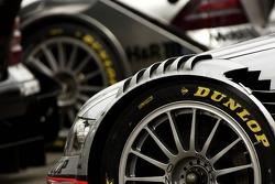 Dunlop tires mounted on a Mercedes Benz car