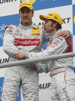 Podium: race winner Bernd Schneider with Heinz-Harald Frentzen