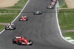 Michael Schumacher leads the start of the race