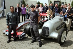 Juan Pablo and Kimi Raikkonen with a McLaren Mercedes and a Mercedes silver arrow