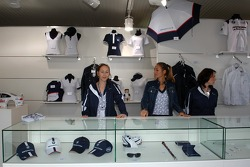 Visit of BMW Sauber F1 team Pitlane Park: merchandising area
