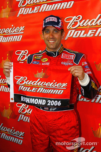 Pole winner Greg Biffle celebrates
