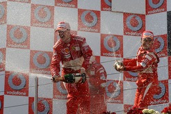 Podium: champagne for Michael Schumacher