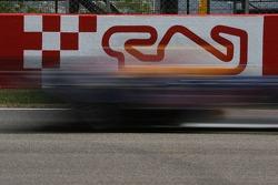 A car at speed at Circuit de Catalunya