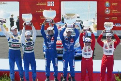 Podium: winners Sébastien Loeb and Daniel Elena, with second place Mikko Hirvonen and Jarmo Lehtinen, and third place Daniel Sordo and Marc Marti