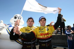 Race winners Timo Bernhard and Romain Dumas celebrate