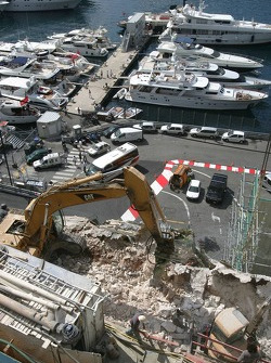 Construction work around the circuit ahead of the Monaco Grand Prix weekend