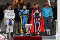 Podium: Race winner Fernando Alonso, second place Juan Pablo Montoya, third place David Coulthard