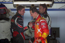 Scott Speed, Michael Schumacher and Jenson Button