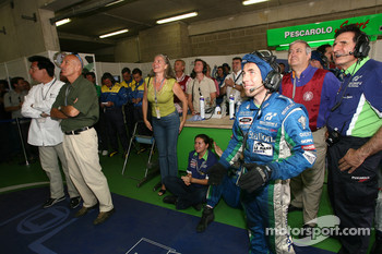 Pescarolo Sport team members celebrates fastest time of the Franck Montagny