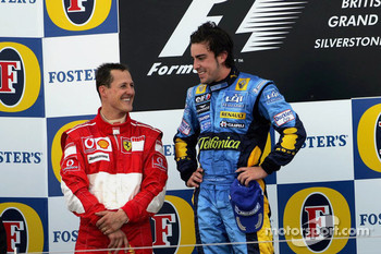 Podium: race winner Fernando Alonso and second place Michael Schumacher