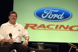 Terry Cook  takes part in an employee pep rally at Ford World Headquarters