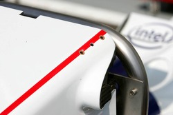 Holes in the front wing of the BMW Sauber F1.06 where supposingly the new up-standing flaps are to be mounted on