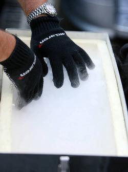 McLaren mechanic prepares dry ice