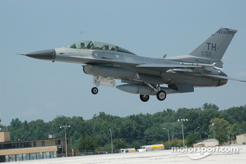 Col. Chris 'Bert' Colbert and Tony Raines take off at Hulman Field in Terre Haute, Indiana