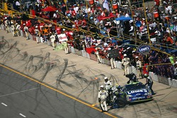 Jimmie Johnson in for a pitstop after crashing