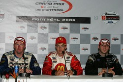 Press conference: race winner Sébastien Bourdais with Paul Tracy and Nelson Philippe