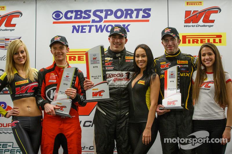 GTS podium: race winner Michael Cooper, second place Ben Clucas, third place Andrew Aquilante