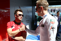 (L to R): Will Stevens, Manor F1 Team with Kevin Magnussen, McLaren