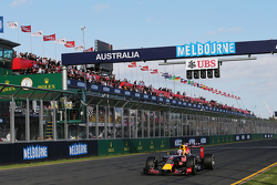 Daniel Ricciardo, Red Bull Racing RB11 takes the chequered flag at the end of the race