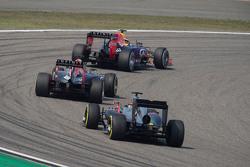 Daniil Kvyat, Red Bull Racing RB11 leads Daniel Ricciardo, Red Bull Racing RB11 and Fernando Alonso, McLaren MP4-30