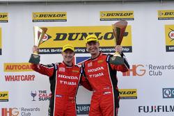 Gordon Shedden, Matt Neal, Honda Yuasa Racing celebrate their double podium