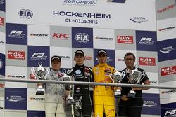 Podium: second place Felix Rosenqvist, Prema Powerteam and winner Charles Leclerc, Van Amersfoort Racing and third place Antonio Giovinazzi, Jagonya Ayam with Carlin