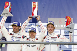 Podium: third place Mark Webber, Timo Bernhard, Brendon Hartley